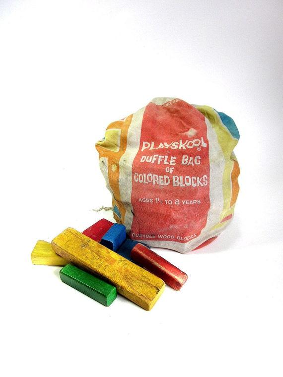 Playskool Duffle Bag of Colored Blocks 70s
