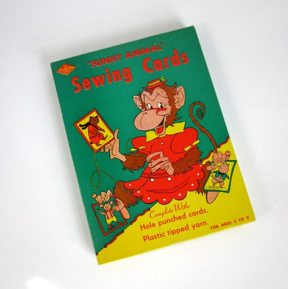Built Rite Toy Funny Animal Sewing Cards 50s