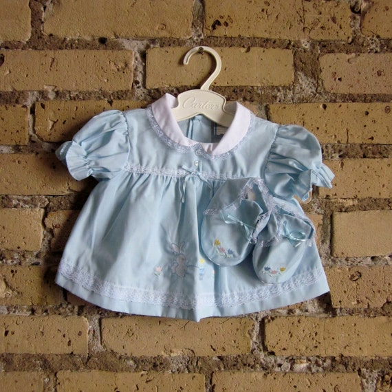 Size 6-9M Vintage Dress with Matching Booties NOS / Lace and Embroidered Bunny