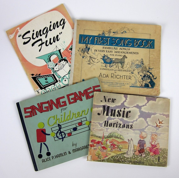 Sale // Childrens Music Books 40s / Collection of 4