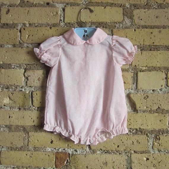 Vintage Gingham Baby Romper / Size 3-6M