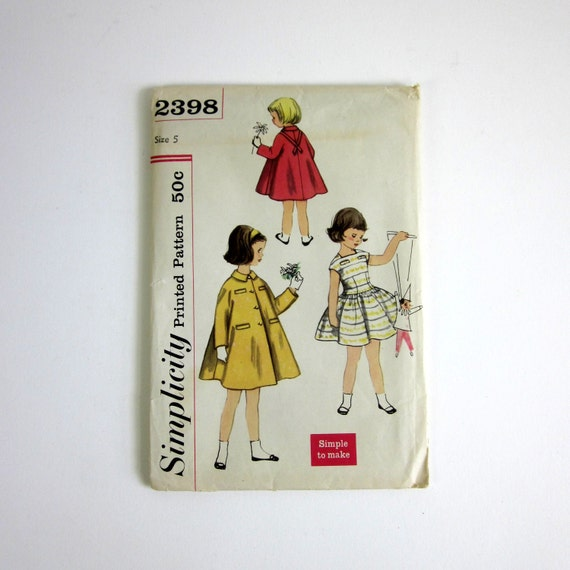 Child's Size 5 One-Piece Dress and Coat 50s Simplicity Pattern 2398 / Factory Folds