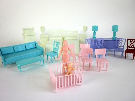 Vintage MPC Dollhouse Furniture / Set of 23