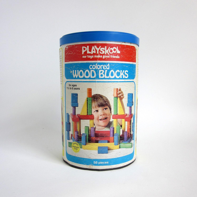 Colored Wood Blocks ~ Playskool colored wood blocks in original storage can