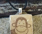Monkey - Scrabble Tile Pendant