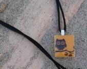 Orange Owl - Scrabble Tile Pendant