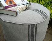 pouffe/pouf cushion hassock ottoman linen burlap block print stripes (toast with graphite stripes no.1) SALE
