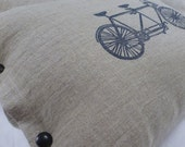 pillow cushion linen tandem bicycle blue block print  (navy on toast)