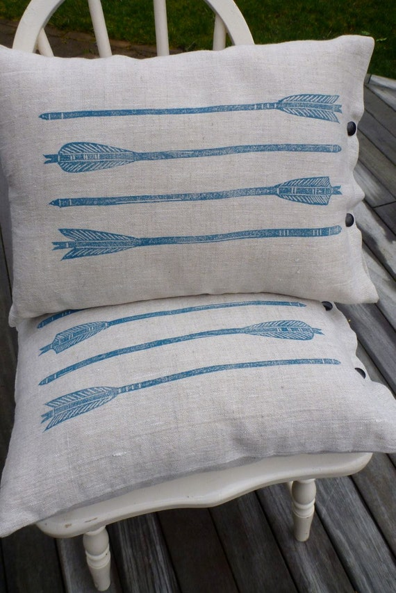 pillow cushion linen arrows tribal turquoise block print  (mineral blue on oatmeal)