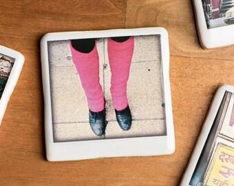 Polaroid Ceramic Coaster - Pink Leg Warmers