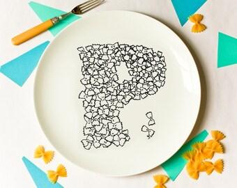 P for Pasta - Alphabet Ceramic Plate (Black)