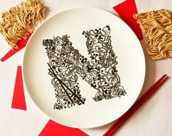 N for Noodles - Alphabet Ceramic Plate (Blue)