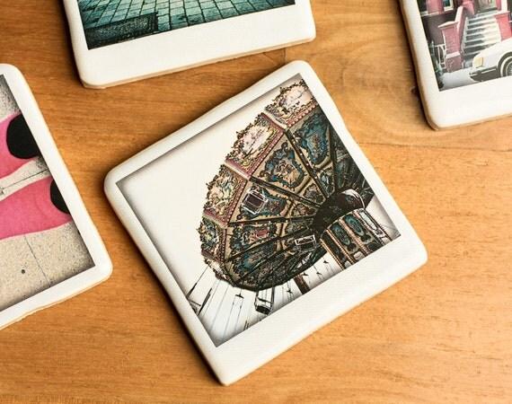 Polaroid Ceramic Coaster - Winter Carousel