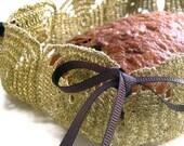 Golden crochet foldable basket, multipurpose, OOAK upcycled II handmade