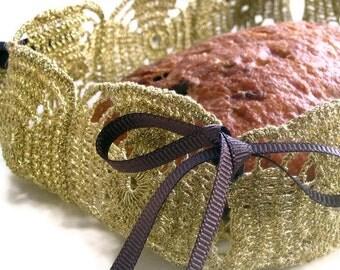 Golden Crochet Bread Basket, Foldable Basket, Bread Serving, Multipurpose, OOAK Upcycled II Handmade