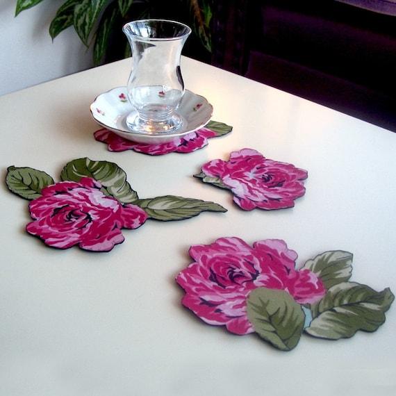 Fabric Coaster Table Charm Girl Room Home Decor Set of 4 Handmade Unique