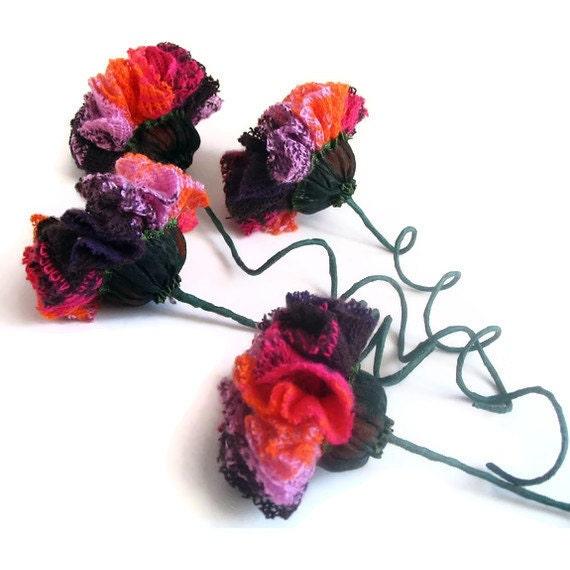 Stylish Knit Fabric Flowers Home Decor (Set of 4) Christmas Gift