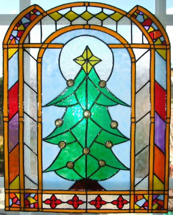 christmas tree panel window cling stained glass effects. Black Bedroom Furniture Sets. Home Design Ideas