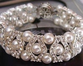 Bridal 27 Color Choices 18KGP Rhinestone Swarovski Pearl Bracelet 6mm, Bride, Bridesmaids, Flower girl, maid of honour, bridal party
