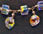 14K Gold Filled Swarovski Crystal Cube Bracelet 24 Color Choices Wire Wrapped Plus size, Bridal, Bridesmaids, mob