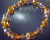 Elastic Stretch Swarovski Crystal Bracelet Choose Cols with Diamond Rondelles Diamante