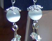 White Cat's Eyes Beads Swarovski Earrings Bali Bead Cap Below USD 1