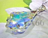 "Swarovski Strass 6090 Baroque Crystal Pendant 22mm x 15mm 925 Sterling 18"" Necklace Chain Birthday Gift, Bridal Shower, Bridesmaids"