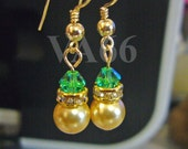 Diamond Swarovski Crystal Pearl Earrings 14k gold Filled Lt Emerald Crystal n Gold pearls Gold Rondelles Bridesmaids MOB Flower Girl Prom