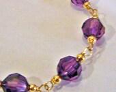 Swarovski Crystal Bracelet with teardrop Charm 14K Gold Filled or 925 Sterling Silver Handmade Choose Colours Bridesmaids, MOB, Bridal