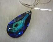 Bridal 925 Sterling Silver BB Bermuda Blue Baroque Swarovski Crystal Pendant Necklace Wire Wrap 6100 Pear Teardrop Choose Color Bridesmaids