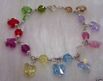 925 Sterling Silver Swarovski Butterfly Crystal Bridal Charm Bracelet 12 Colour Choices Bridesmaids, Christmas, Flower Girl, MOB