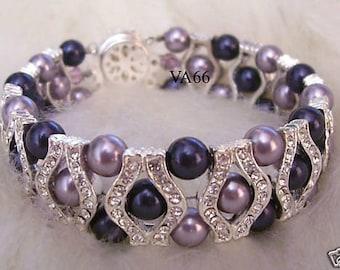 Purple Bridal 27 Color Choices 18KGP Rhinestone Swarovski Pearl Bracelet 6mm, Bride, Bridesmaids, Flower girl, maid of honour, bridal party