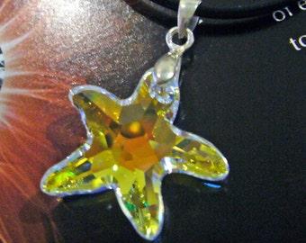 Swarovski Strass 8818 20mm Starfish Necklace Top Drill Pendant Crystal Choose Color Gift. Birthday, Bridal, Bridesmaids, MOB