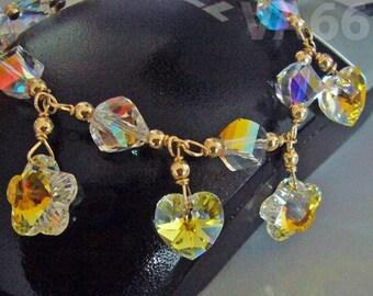 Helix Heart Flower 14K Gold Filled Swarovski Crystal Bracelet Wire Wrapped 925 sterling silver Custom Made Standard, Toddler, Children, Baby