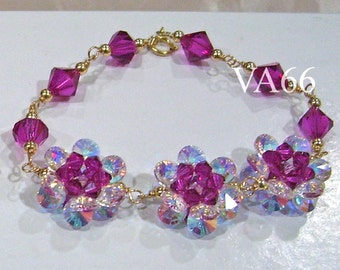 Bracelet 925 Silver or 14K Gold Swarovski Crystal Flower Motif 24 Color Choices Wire Wrapped Bridal Bridesmaids mob