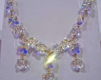 Custom Made Color 14K Gold Swarovski Necklace Suasa Butterfly Choose Cols Wire Wrapped Bridal, Bridesmaids,