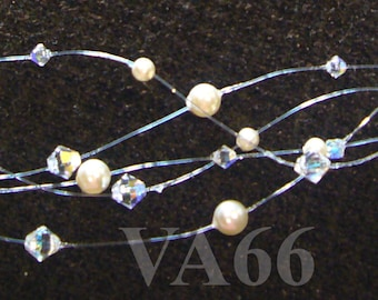 Bridal 5 Strand Illusion Necklace Wisps of Floating Crystals n Pearls in the Air Many Colour Choices Bridesmaids, Mother of the Bride etc