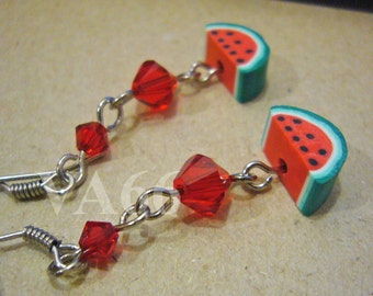 Fun Fruit Earrings Juicy Watermelon and Swarovski Crystals Red and Green Earrings for Children, girl, birthday gift etc