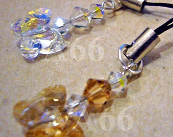 Choose Color Swarovski Crystal Bicone and Butterfly Cell Phone Keychain, purse Charm Dangle, Bridal Party Favors, Charms