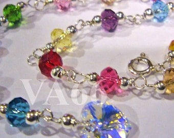 925 Sterling Silver Swarovski 5040 6mm donut rondelle Anklet 24 Colour Choices 14k gold choice Bridal jewelry, bridesmaids, matching sets