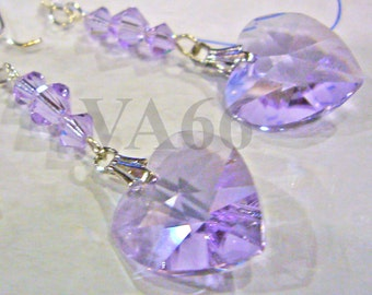 925 Sterling Silver Violet purple Swarovski 6202 14mm Heart Bicone Crystal Earrings Color Choice Birthday Bridal Shower Bridesmaids, MOB