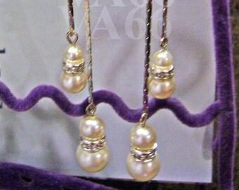 18KGP Long Diamond Earrings Swarovski Pearl Earrings 27 Col Choices Rhinestone Rondelles for Bridesmaids, Bridal, MOB, Prom, Christmas Gift