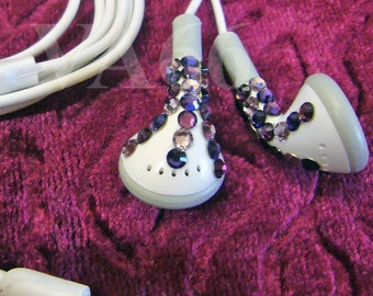 Bling Bling Studded White Ear Buds Purple Swarovski Flatback studs on Ear phones listening to Music Apple Look Alike Ear Buds Party Favors