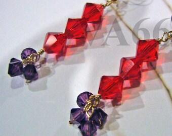 14K Gold Filled Swarovski Crystal Triple 8mm Bicone Earrings Colors Bridesmaids, Bride, Flower Girl, MOB, Gift, christmas, 925 Silver