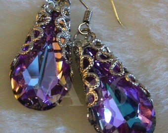Filigree Half Wrapped Baroque Swarovski Crystal VL Vitrail Light Earrings Pear Teardrop Col Choices BB, VM, Bride, Bridesmaids, Prom