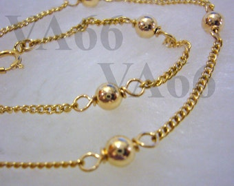 14k Gold Filled Anklet with Bali Beads Simple and Elegant for Bride, Bridesmaids, MOB, Mother, Gift, Birthday