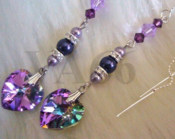 Purple Shades Swarovski Pearl VL 14mm Heart n Bicones Crystal Threader Earrings Choose Color Bride, Bridal Shower, Bridesmaids