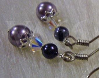 Handmade Swarovski Pearl Crystal Purple Earrings Gift U Choose Color 27 Colors, Bridal, Bridesmaids, Flower Girl, Wedding, MOB