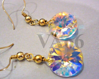 14KGF Wire Wrapped Swarovski Disc Crystal AB Earrings Bridal Earrings for Bridal Shower, Birthday Present, Bride, MOB