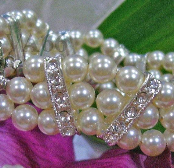 27 Colors 18KGP Rhinestone Swarovski Pearl Bracelet 3 strand Triple strand Vintage Inspired Diamond look, bridal, bridesmaid, mother, gift